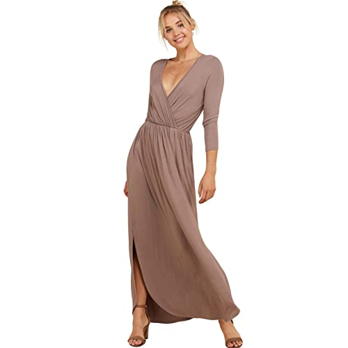 0717baa19a7fb Annabelle Women's 3/4 Sleeve V Neck Wrap Waist Tie Long Maxi Dresses with  Pockets