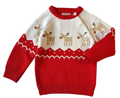 YuanDian Baby Unisex Pullover Stricken Weihnachten Langarm Elche Warme Sweater Pullis Rot 110 (100-110CM)
