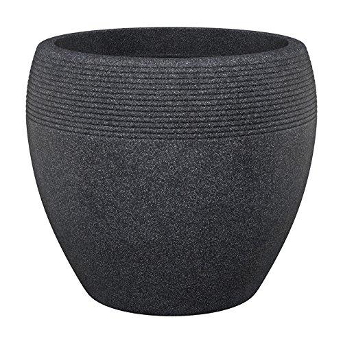 Scheurich Lineo, Pflanzgefäß aus Kunststoff, Schwarz-Granit, 48 cm Durchmesser, 39 cm hoch, 50 l Vol.