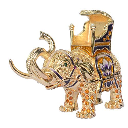 JLXQL Baratija de Elefante y Caja de joyería Hecha a Mano de Cristal con Cuentas coleccionables Figurita Regalos joyería envases Caja de Anillo