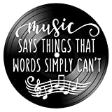 Music Says Things Quote on a Repurposed Upcycled Vintage Vinyl Record Album wall decor