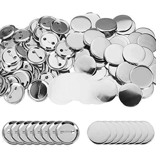 100 Pieces Blank Button Badge Parts for Button Maker Machine, Metal Shells Metal Back Cover and Clear Mylar Components, DIY Crafts Arts Supplies for Presents, Souvenirs (25mm)