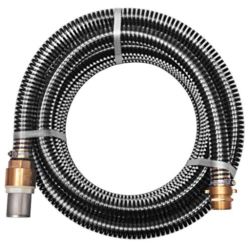 UnfadeMemory Conjunto de Manguera de Succión con Conectores de Latón,Válvula de Pie con Filtro,Plástico (4m 25mm, Negro)