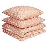 AmazonBasics - Juego de fundas de edredón y almohada de microfibra premium (240 x 220 cm / 80 x 80 cm), rosa anaranjado chevrón
