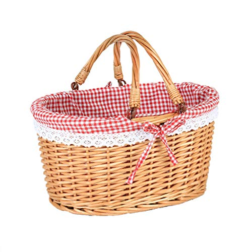 ZHIQ Willow Picnic Basket Hamper with 2 Handles Lid Woven Handmade Rectangular Wicker Double Drop Down Handles Gift Storage Box Easter Basket for Home Camping Shopping