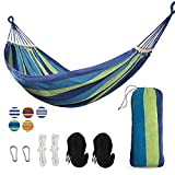 Yoyo Mori 2 Person Hammock with 600lb Laod Capacity,Portable Cotton Canvas Hammocks with Two Anti Roll Balance Beam,Sturdy Metal Knot and Carrying Bag for Travel Patio Garden (Green Blue)