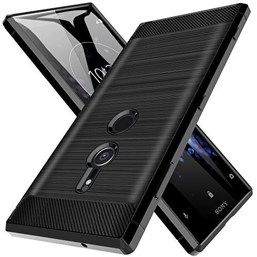 LK Hülle für Xperia XZ2, Gebürstet Silikon Weich Schwarz Carbon Hülle für Sony Xperia XZ2 Case Cover (Schwarz)