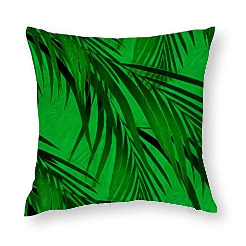 WH-CLA Funda de almohada de 45 x 45 cm, diseño de palmera tropical, color verde, para decoración del hogar, oficina, funda de cojín con cremallera impresa para el sofá del hogar