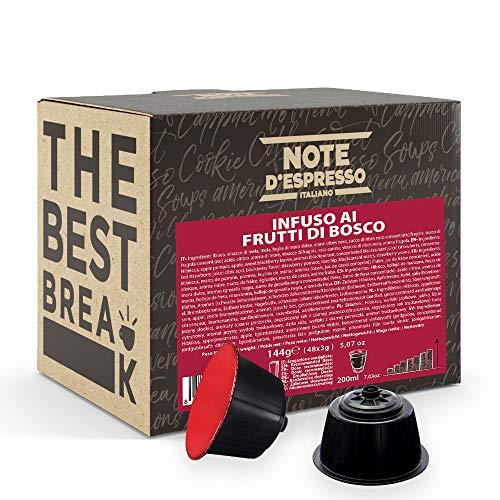 Note d'Espresso Italiano - Cápsulas de Tisana de Frutas del Bosque, Compatibles con cafeteras de cápsulas Nescafé, Dolce Gusto, 48 unidades de 3g, Total: 144 g