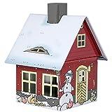 Crottendorfer Metall Häuser mit integriertem Räucherkerzenhalter Wintermotiv, rot