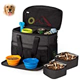 Unicreate Dog Travel Bag for Dog -Weekend Tote Organizer Bag for Dogs Travel-Incudes 1xDog Pet Travel Bag,2xDog Food Carrier Bag,2xPet Silicone Collapsible Bowls(Black)