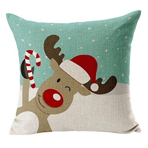 YueLian Tema di Natale Federa Lino del Cuscino Decorativo Disegno 12