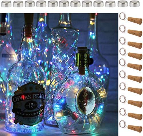 Preisvergleich Produktbild 5 Dimmbare Licht-Effekte Intelligente Weinflaschen-10er Pack 20 LED Silber-Kupferdraht Fairy String Batteriebetrieben Lichterketten, für DIY, Party, Dekoration,  Weihnachten, Hochzeiten(4 Farben Steay)