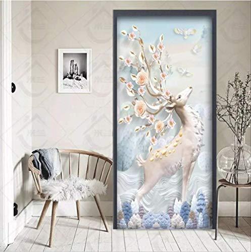 tytuoling deur Sticker 3D View voor slaapkamer woonkamer houten stalen deur renovatie zelfklevende kast schuifdeur muurschildering 77X200Cm