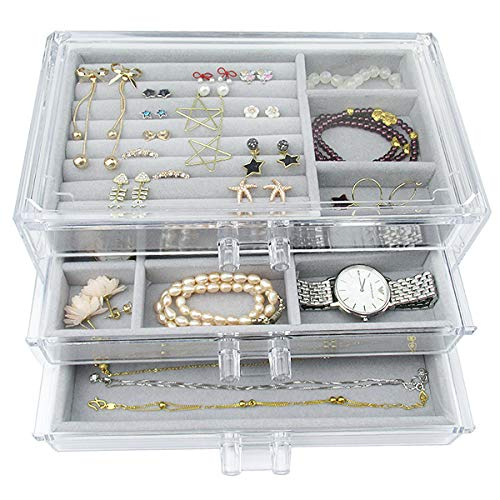 Acrylic Jewelry Box 3 Drawers, Velvet Jewellery Organizer, Earring Rings Necklaces Bracelets Display Case Gift for Women, Girls