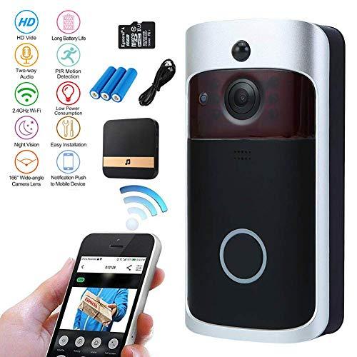 Nestling Sonnette vidéo,720P HD Sonnette WiFi sans Fil avec 16G Carte,Conversation bidirectionnelle,détection de Mouvement en Temps réel,Commande à Distance pour app pour iOS/Android