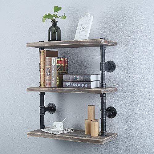 Industrial Pipe Shelf Wall Mounted,3 Tier Rustic Metal Floating Shelves,Steampunk Real Wood Book Shelves,Wall Shelving Unit Bookshelf Hanging Wall Shelves,Farmhouse Kitchen Bar Shelving(24in)