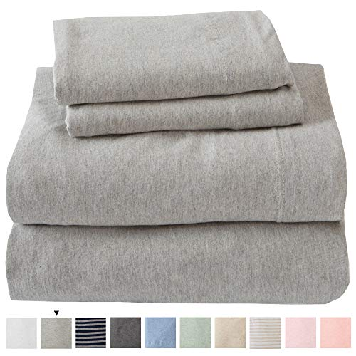 Jersey Knit Sheets All Season Soft Cozy Full Jersey Sheets TShirt Sheets Jersey Cotton Sheets Heather Cotton Jersey Bed Sheet Set Full Light Grey