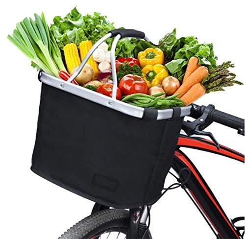 Panier de vélo Pliable, Sac de Rangement à vélo en Aluminium Oxford en Tissu Multi-usages pour Sac de Transport pour Animaux de Compagnie Porte-Documents épicerie Camping en Plein Air Pratique - Noir