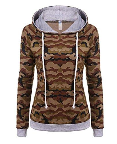 YuanDian Femme Automne Et Hiver Casual Impression De Camouflage Manches Longues Sweat A Capuche Slim Fit Hooded Sweatshirt Pull à Capuche Marron Camouflage XL