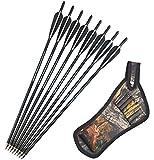 SHARROW 12 Piezas Flechas de Ballesta 16 17 18 20 22 Pulgadas Flechas de Carbono Pernos de Ballesta...