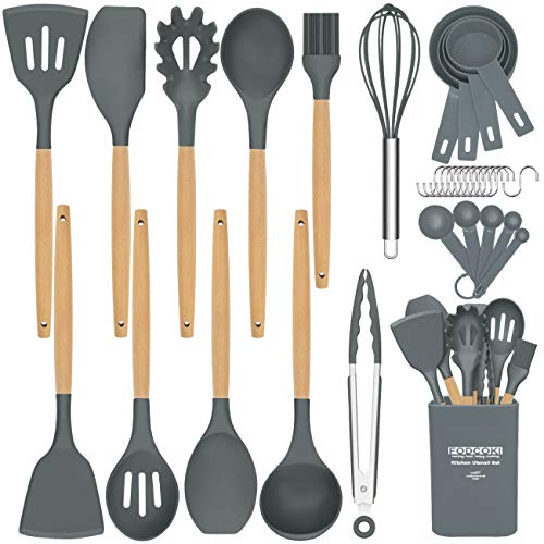 Silicone Kitchen Utensils for Cooking, 22pcs Cooking Utensils Set with Wooden Handle, Measruing Tools, Holder, Non-stick Heat-Resistant Cookware Utensil Gadgets by FODCOKI, Dark Gray