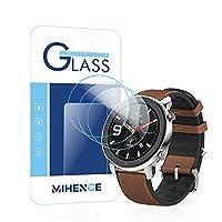 【3枚入り】 Mihence Compatible Amazfit GTR 47mm 保護フィルム, 9H ガラス保護フィルム 対応 Amazfit GTR 47mm Smartwatchスマート腕時計 2.5Dラウンドエッジ ウォッチ指紋防止保護膜