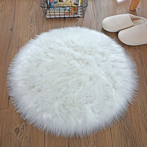 DAOXU Kunstfell Pelz Stuhl, Sitz Pad Shaggy Bereich Teppiche für Schlafzimmer Sofa Boden Home Decorator Teppiche Kinder Spielen Teppich Matte Teppich (Weiß, 60cm runde)