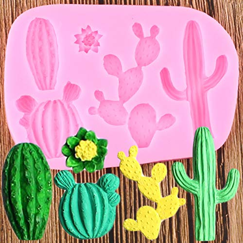Yihor Cactus Plant Silicone Mold DIY Flower Fondant Resin Clay Mould Cake Decorating Tools Candy Chocolate Moulds