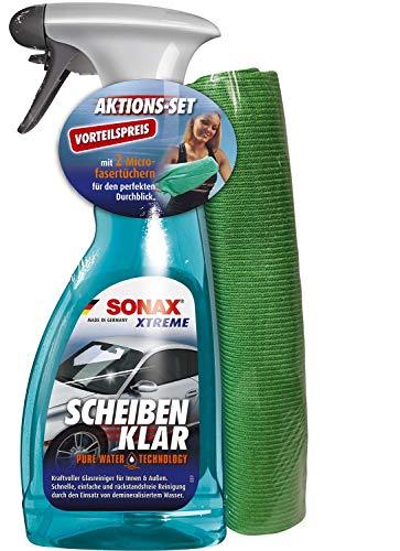 SONAX XTREME ScheibenKlar (500 ml)+2xMicrofaserTuch PLUS Innen+Scheibe - der besonders kraftvolle Glasreiniger sorgt für strahlende Sauberkeit mit mehr Durchblick | Art-Nr.02388410