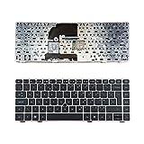 WJY Laptop-Tastatur für HP EliteBook 8460P, silberfarbener Rahmen, UK-Layout