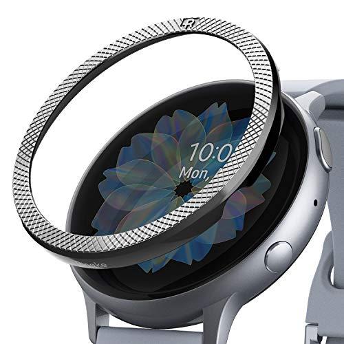 Ringke Bezel Styling Kompatibel mit Galaxy Watch Active 2 Hülle 44mm [Glänzend Silber] Lünette Ring Kratzfest GW-A2-44-42