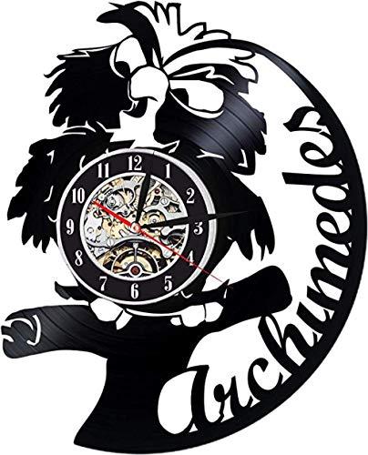 Archimedes Vinyl Wanduhr Exklusive Vogel Design Perfekte Cartoon Geschenk Für Kinder Junge Oder Mädchen Decortion Für Klassenzimmer Schlafzimmer Oder Spielzimmer Eule Stein Schwert Mit Led