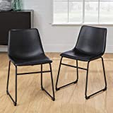 Walker Edison Furniture Company 18' Industrial Faux Leather Armless Indoor Kitchen Dining Chair with Metal Legs Upholstered, Set of 2, Black