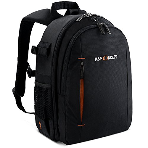 K&F Concept Fotorucksack Kamera Rucksack Camera Backpack für 2 SLR-Kameras 2-4 Objektive 26 * 16 * 37cm, Schwarz