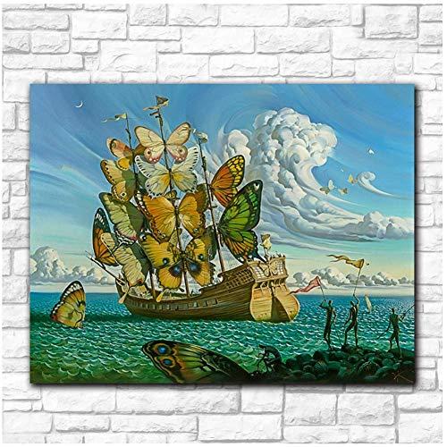 Arte de pared de moda Salvador Dali Pintura Mariposa Barco Imágenes de pared para sala de estar Decoración para el hogar Pinturas impresas -60x80cmx1pcs- Sin marco