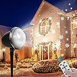💮 Simulazione Reale Modalità Multiple: Proiettore luci natale rotazione con chip LED avanzato, punto bianco statico, fiocco di neve dinamico, ampia area di copertura, in grado di regolare le dimensioni e la velocità del fiocco di neve. Dinamici, stat...
