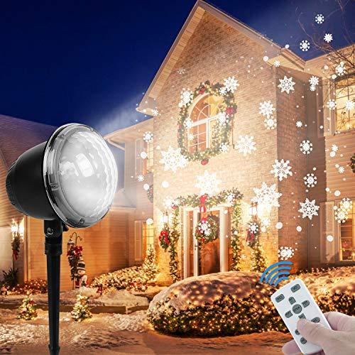 Fenvella Proiettore Luci Natale, Proiettore Natale Esterno Impermeabile IP65, Luci Proiettore Fiocco di Neve Multi Modi con Telecomando, per Natale Decorazione Interno & Esterno Festa Spettacolo