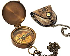 Brass compass with antique finish, detailed copper rose dial, real cow hide case and chain. Compass is 2.5 x 2.0 x 0.75 inches in size. Case is stamped with compass rose. The compass can be engraved at a local engraver shop on top side, back of top s...