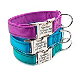 Reflective Personalized Dog Collar with Pet Name Phone Number Address for Small Medium Large Dogs Adjustable Size (XS S M L)