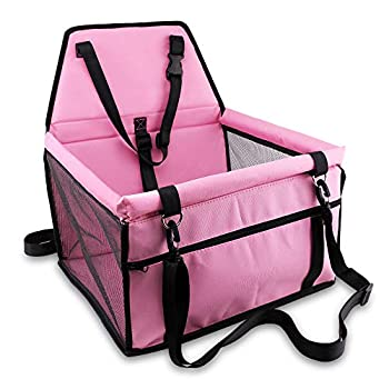 Petbobi Pet Reinforce Car Booster Seat for Dog Cat Portable and Breathable Bag with Seat Belt Dog Carrier Safety Stable for Travel Look Out,with Clip on Leash with PVC Tube  Pink