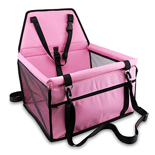Petbobi Pet Reinforce Car Booster Seat for Dog Cat Portable and Breathable Bag with Seat Belt Dog Carrier Safety Stable for Travel Look Out,with Clip on Leash with PVC Tube (Pink)