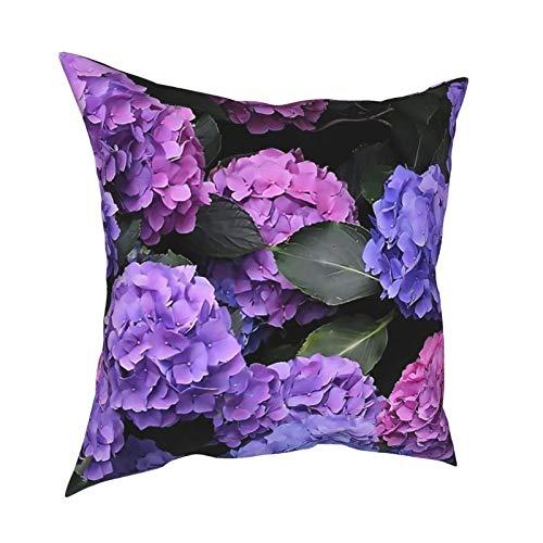 Fundas de almohada con estampado de hortensias de 45 x 45 cm – impresión de doble cara, fundas de almohada cuadradas decorativas para sofá, cama, coche