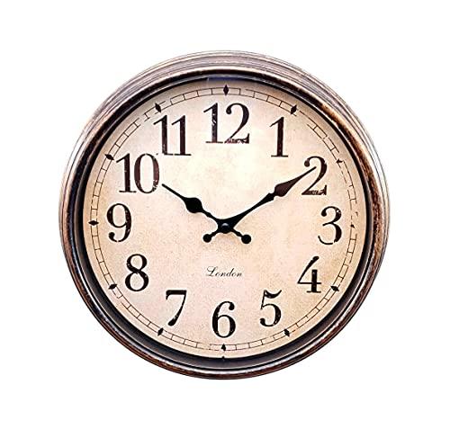 Reloj DE Pared - Reloj Redondo Estilo Vintage| Diámetro 30 cm | DECORACIÓN HOGAR | Reloj Decorativo imitación Madera (Marrón)