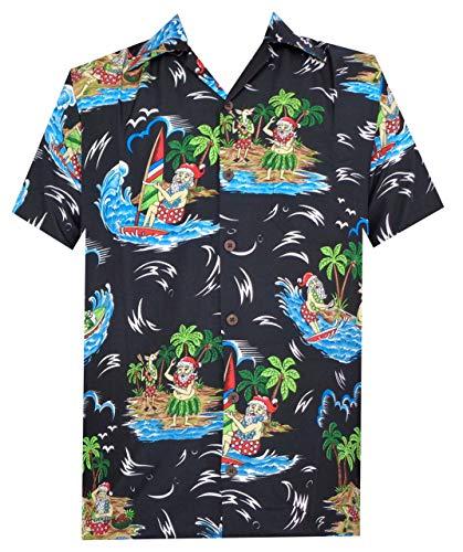 Camicia hawaiana da uomo a tema Natale e spiaggia, con immagini di Babbo Natale - Nero - xxX-Large