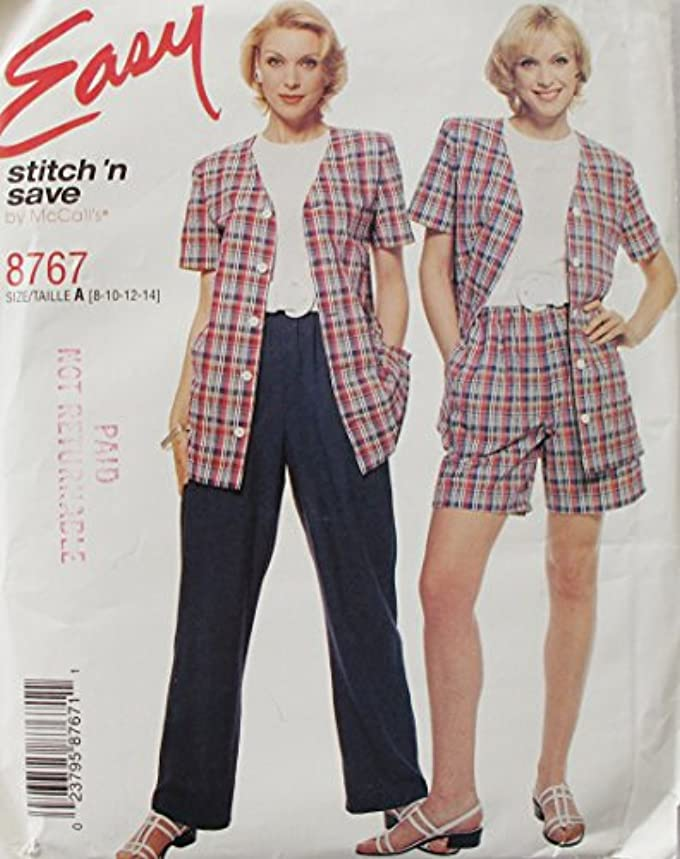 McCall's 8767 Misses Top, Pants, Shorts, size 8-14 Vtg SEWING PATTERN