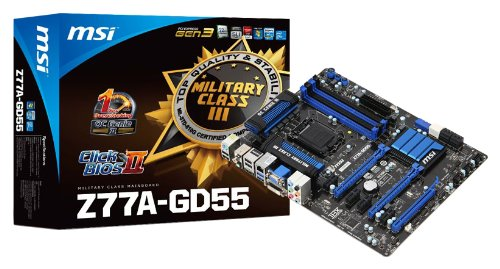 MSI Z77A-GD55 (G3) Sockel 1155 Mainboard (ATX, Intel Z77, 4X DDR3, DVI-D, HDMI, VGA, 2X SATA III, 2X USB 3.0)