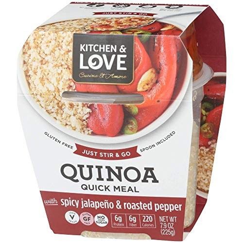 Kitchen & Love Jalapeño & Roasted Pepper Quinoa Quick Meal 6-Pack | Vegan, Gluten-Free, Ready-to-Eat, No Refrigeration Required