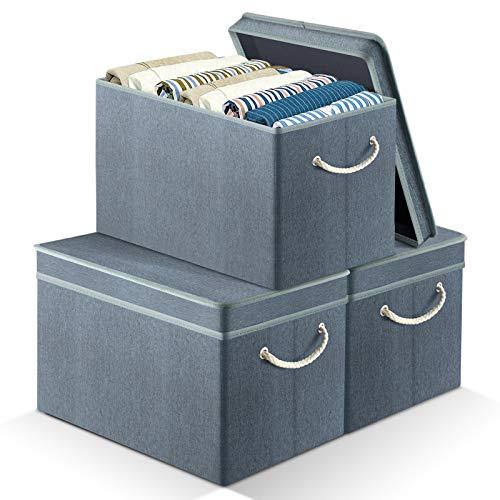 APLKER Cajas de Almacenaje Plegable, Cajas de Almacenamiento, Cubos de Almacenaje de Tela con Tapa, para Juguetes, Toallas y Ropa,para Hogar Oficina (Set de 3, Verde negruzco)