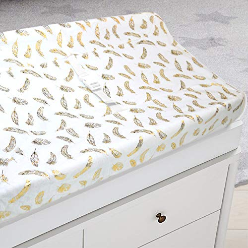 American Baby Company Heavenly Soft Chenille Fitted Contoured Changing Pad Cover,Sparkle Gold Feather on Solid White, for Boys and Girls